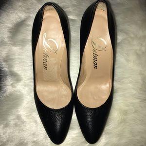 Delman black leather pumps